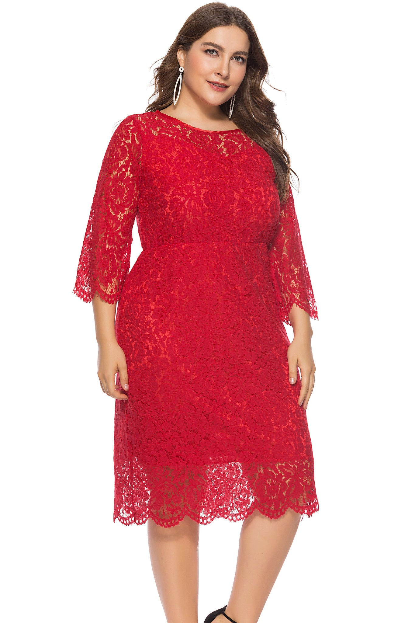 Plus Size Red Dress with 3/4 Sleeves  - Zaida Fashions