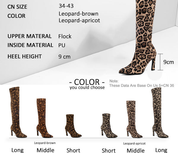 Leopard Print Over The Knee Pointed Toe Women Ankle Boots Size 3 to 12  - Zaida Fashions