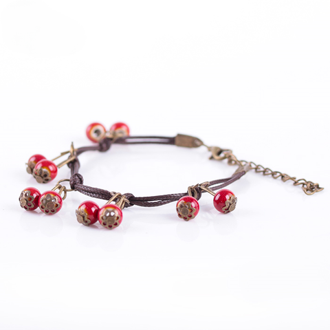 Ceramic Cherry Bracelet  - Zaida Fashions