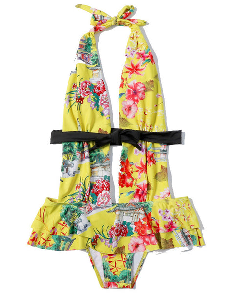 Floral Print Yellow Bowknot One Piece Swimwear  - Zaida Fashions