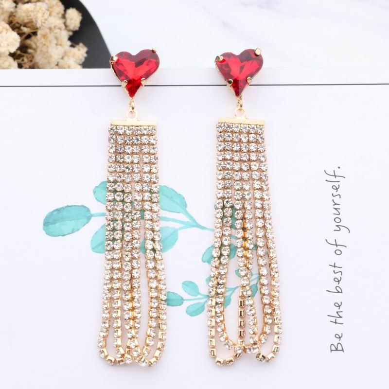 Fashion Crystal Heart Rhinestone Chain Tassel Earrings  - Zaida Fashions