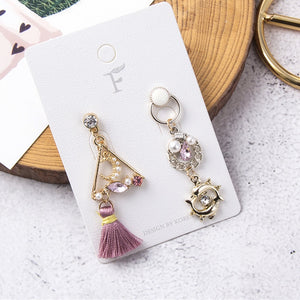 Pink Rhinestone Tassel Earrings  - Zaida Fashions