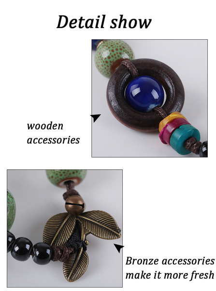 Eco-friendly Braid Cord Ceramic Necklace  - Zaida Fashions