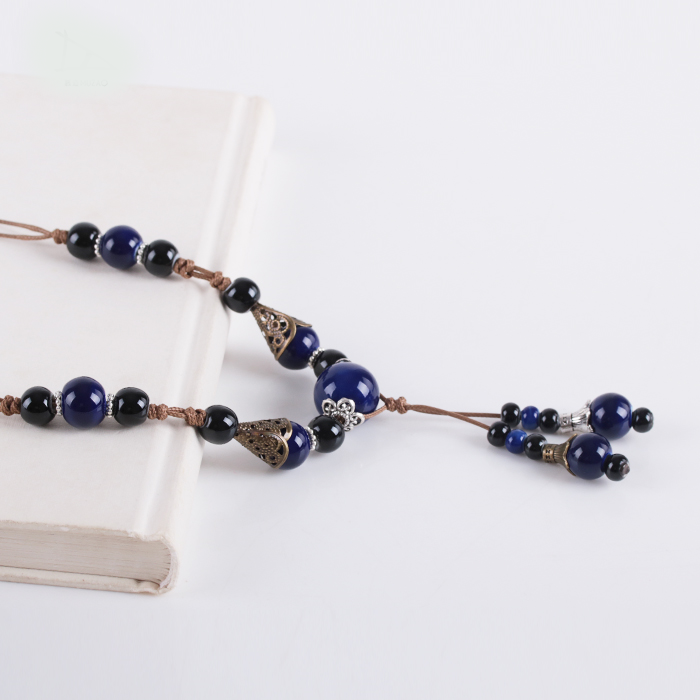Long Blue Ceramic Beads Necklace  - Zaida Fashions