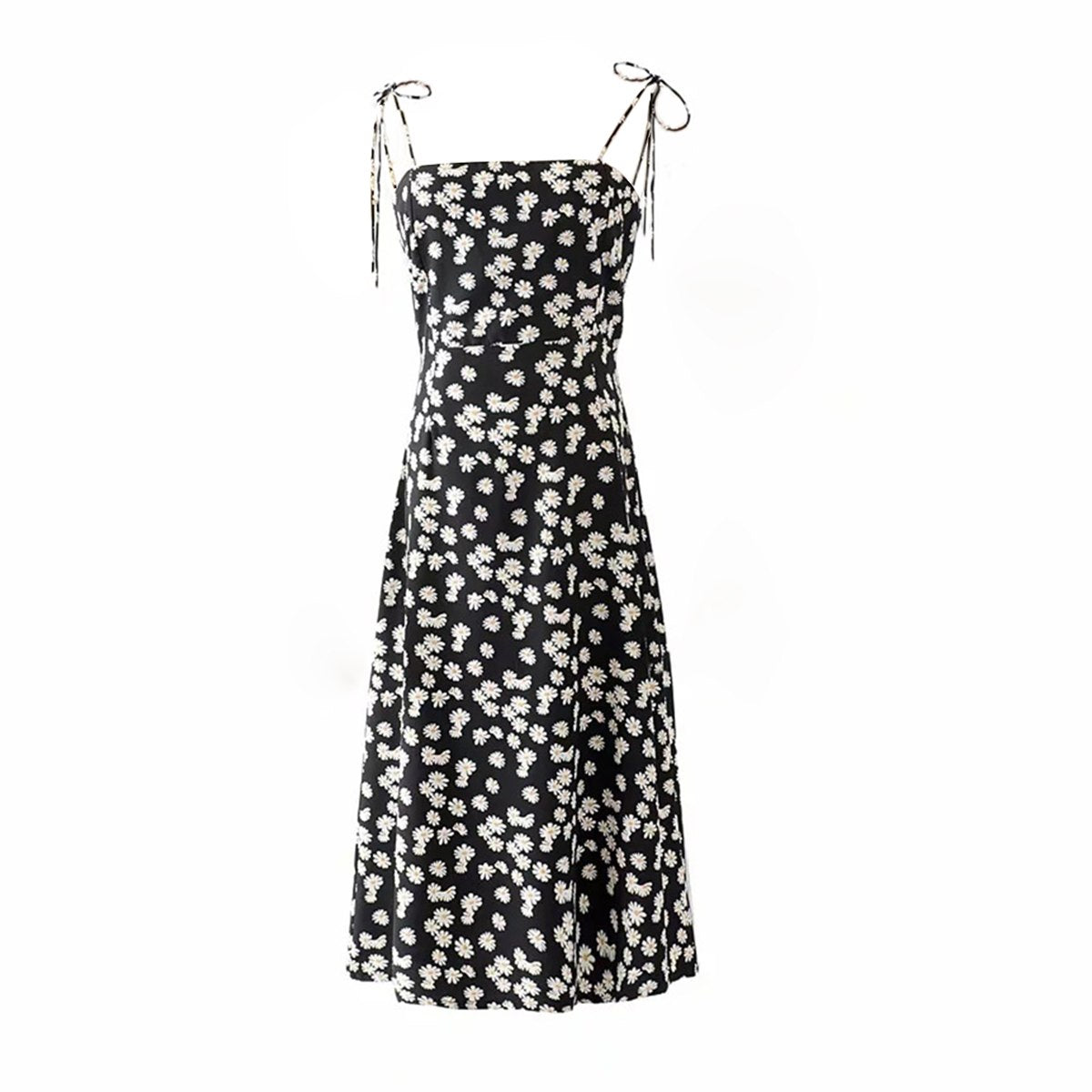 Black Floral Midi Dress  - Zaida Fashions