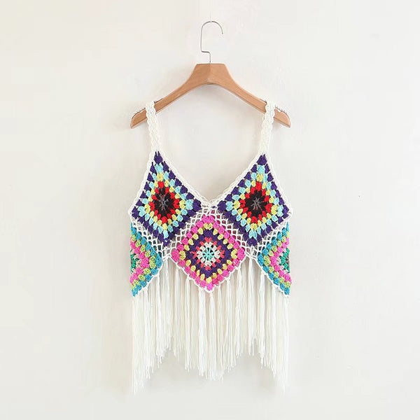 Summer Crochet Boho Tassel Beach Tops  - Zaida Fashions