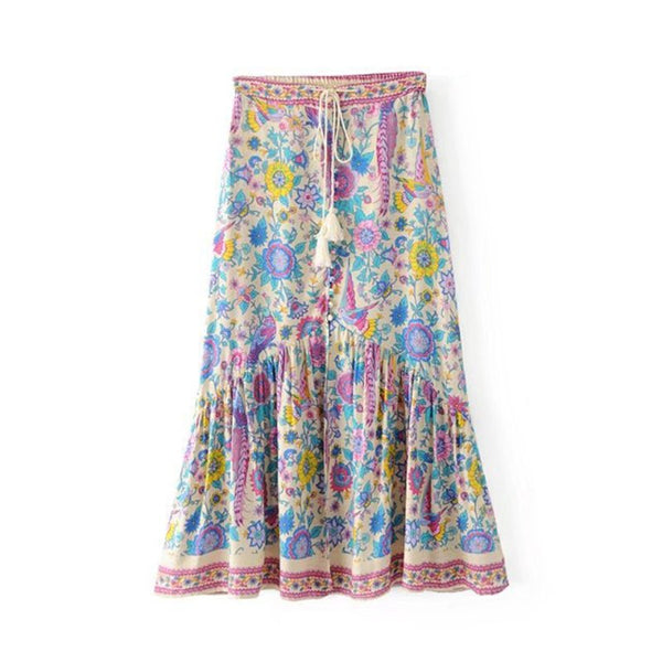 Boho Floral High Waist Lace Tassel Beach Skirts  - Zaida Fashions