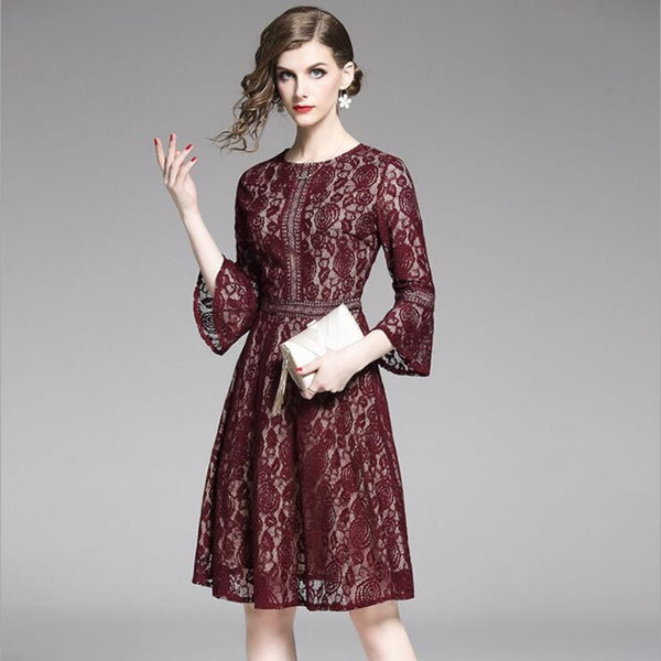 Burgundy Lace Office Lady Party Dress S to XXL  - Zaida Fashions
