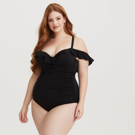 Lovely Straps Ruffle Black Plus Size Swimwear  - Zaida Fashions