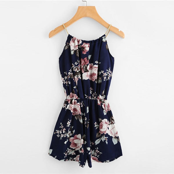 Floral Print Summer Beach Rompers  - Zaida Fashions