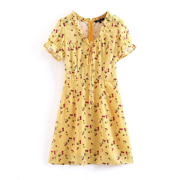 Cherry Yellow Summer Short Sleeve Dress  - Zaida Fashions