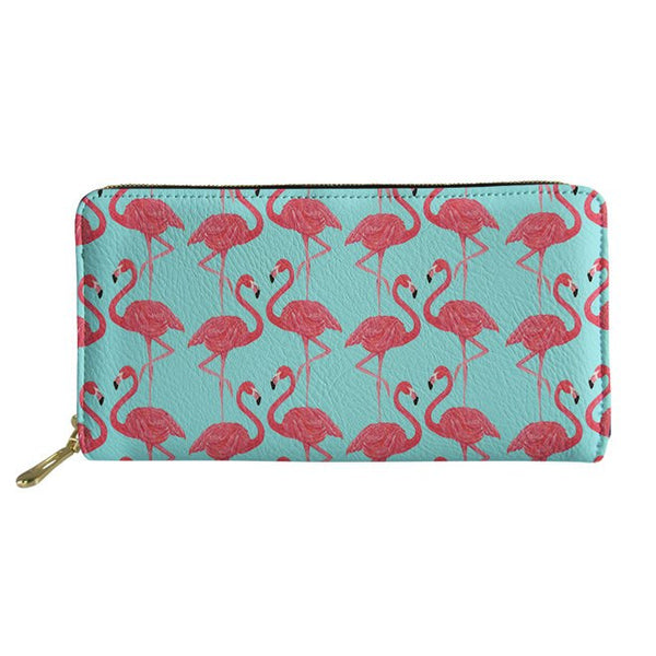 Flamingo Long PU Wallets  - Zaida Fashions