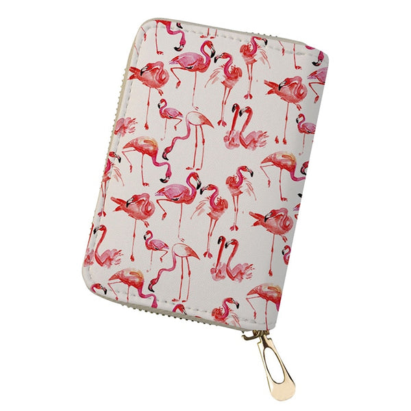 Pink flamingos PU Leather Card Wallet  - Zaida Fashions