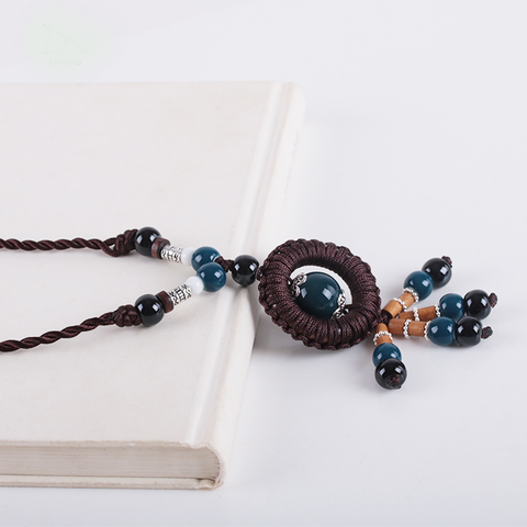 Blue Beads Porcelain Necklace  - Zaida Fashions