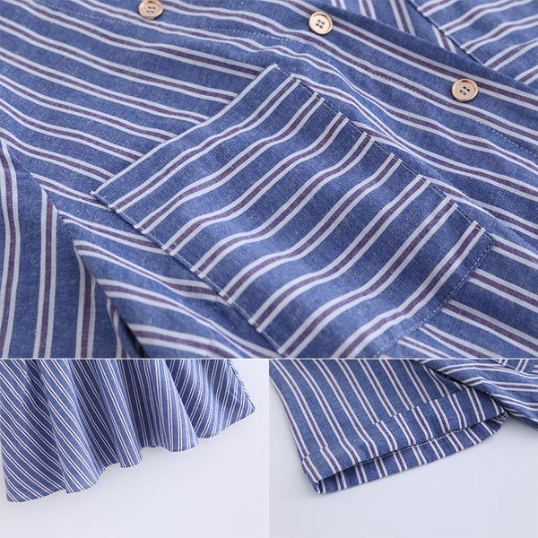 Blue Striped Plus Size Short Sleeves Blouse L - 5XL  - Zaida Fashions