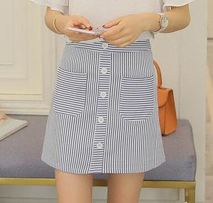 Women Striped High Waist Student Skirts  - Zaida Fashions