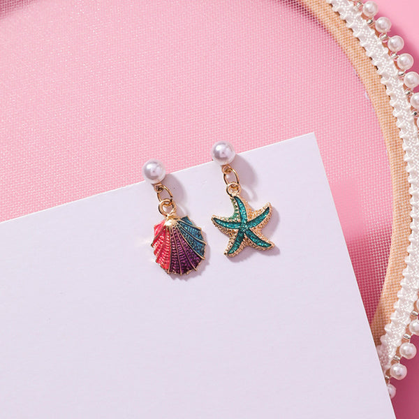 Asymmetry Starfish Shell Pearl Drop Earrings  - Zaida Fashions