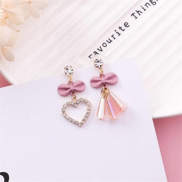 Rhinestone Bowknot Asymmetric Drop Earrings  - Zaida Fashions