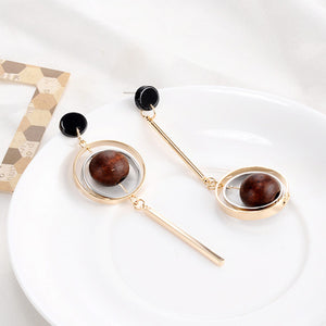 Wood Beads Hoop Earrings  - Zaida Fashions