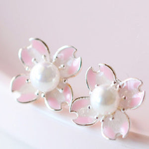 Sakura Flower Stud Earrings  - Zaida Fashions