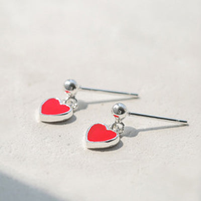 Heart Shape Red Stud Earrings  - Zaida Fashions