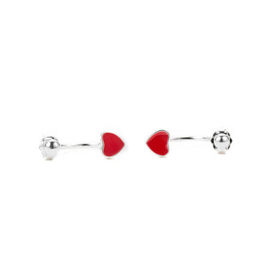 Heart Shape Red Cuff Earrings  - Zaida Fashions