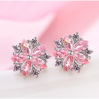 Pink Snowflakes Earrings  - Zaida Fashions