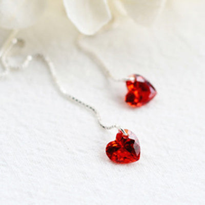 Red Stone Drop Earrings  - Zaida Fashions