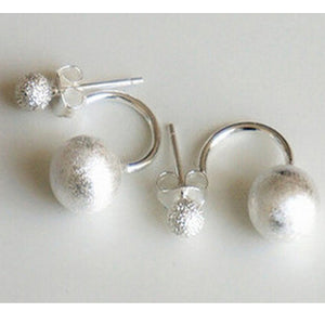 Double Ball Silver Stud Earrings  - Zaida Fashions