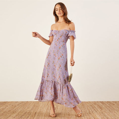 Floral Chiffon Maxi Dress  - Zaida Fashions