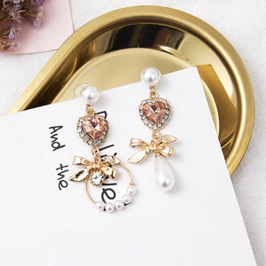 Rhinestone Heart Asymmetry Drop Earrings  - Zaida Fashions