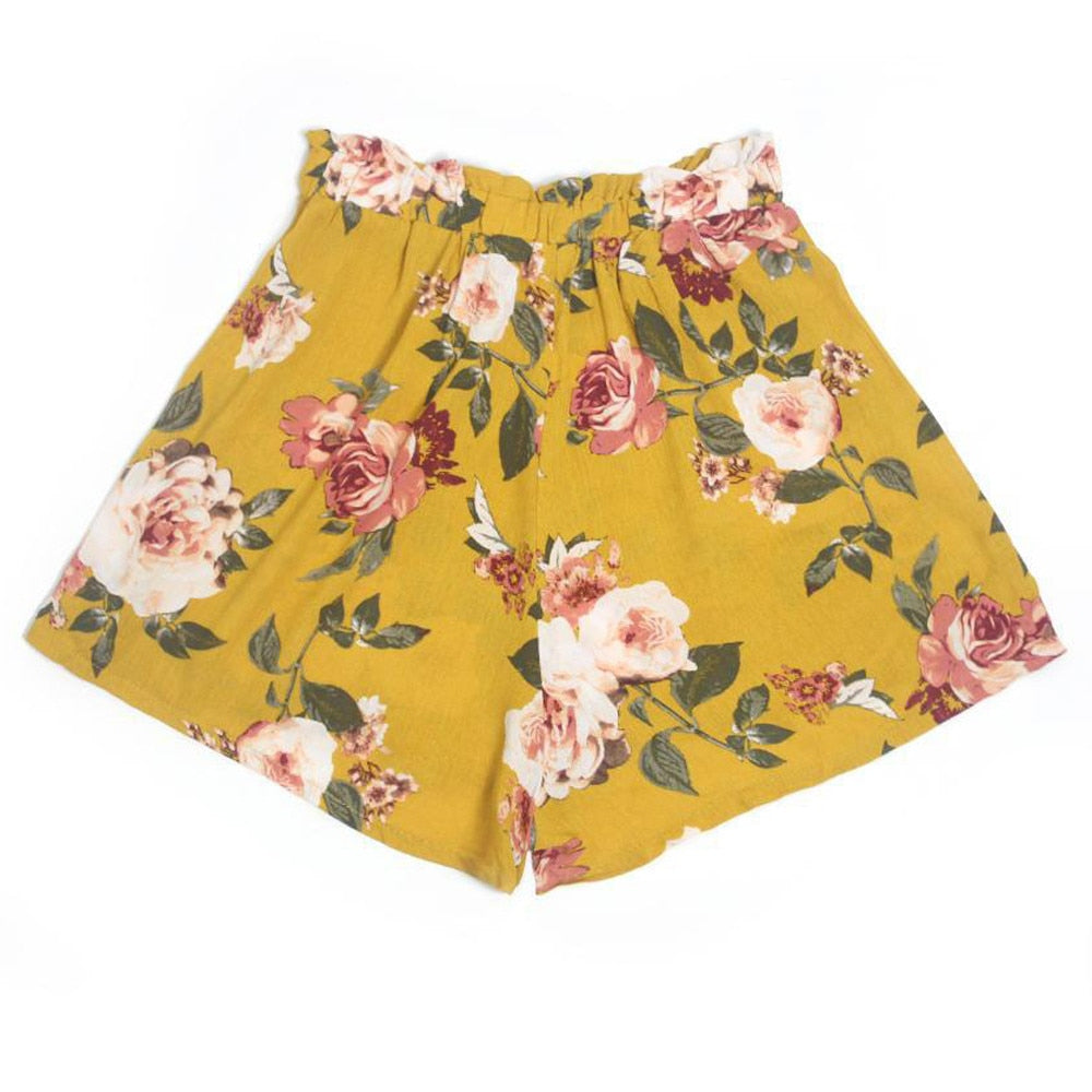 Casual Floral Print Beach Shorts  - Zaida Fashions