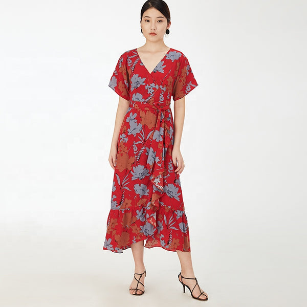 Floral Printed V-neck Sleeveless Red Pleated Dress S to L