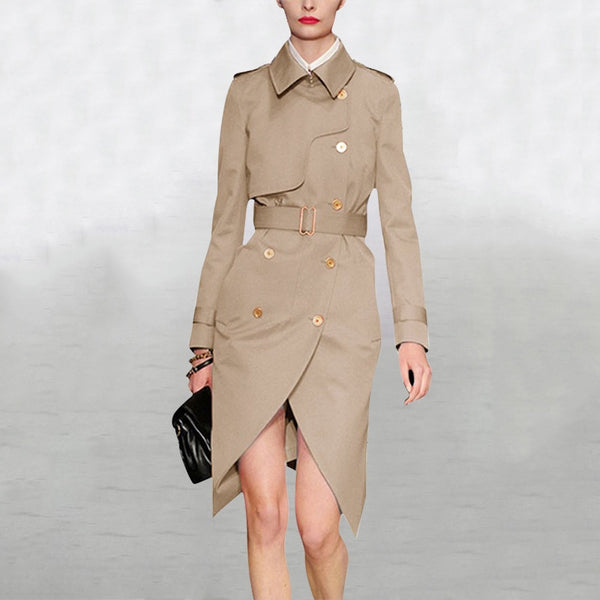 Khaki Trench Coat S - L  - Zaida Fashions