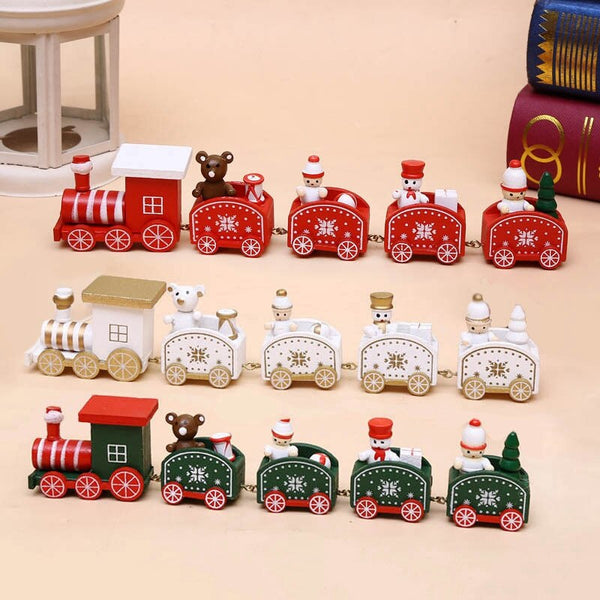 Christmas Wood Small Train Ornament