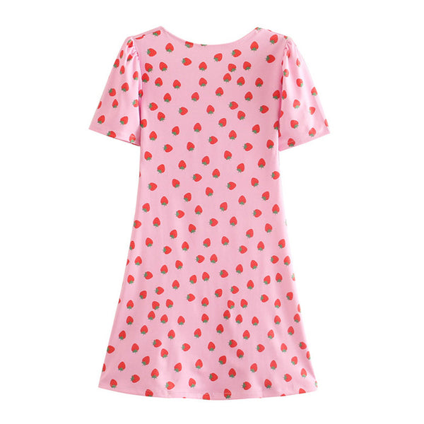 Square Neck Short Sleeve Strawberry Print Mini Dress S to L