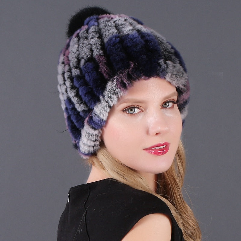 Winter Warm Fur Beanies Cap With Pom Poms