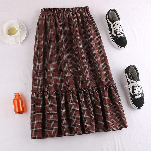 Ruffle Medium Long Knitted Pleated Skirts