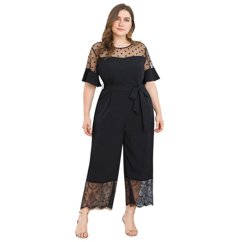 Black Lace Short Flare Sleeve Casual Jumpsuits  XL - 4XL  - Zaida Fashions