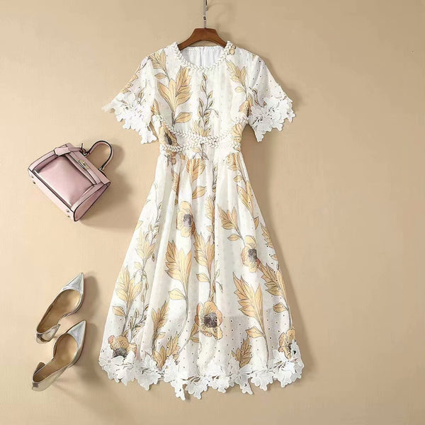 Short-Sleeve Floral Mini Dress S to XL