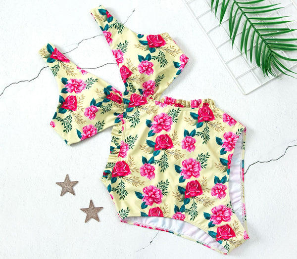 Flower Print One Piece Swimsuit S to XL