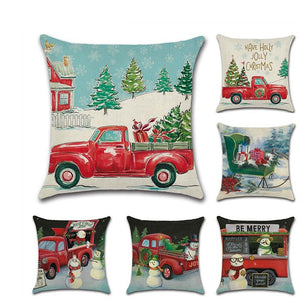 Christmas Red Car Cushion Covers 45cm X 45cm