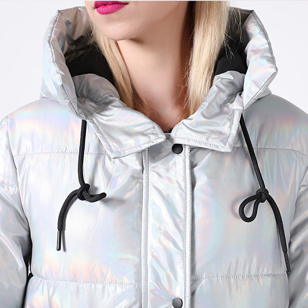 Silver Holographic Glitter Winter Hooded Coat M to XL