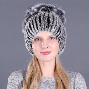 Rabbit Fur Knitted Winter Warm Caps  - Zaida Fashions