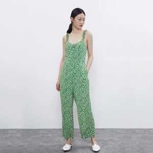 Casual V-Neck Floral Print Sleeveless Summer Beach Jumpsuits S to L