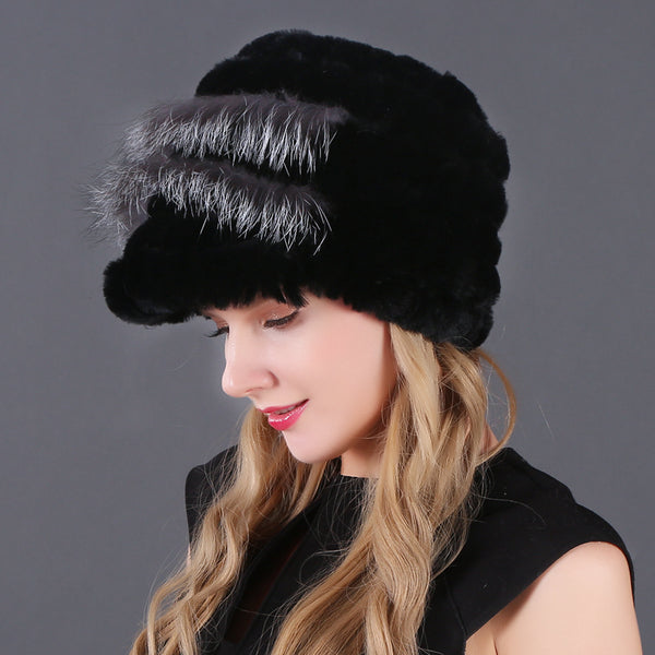 Knitted Rex Rabbit Fur Beanies  - Zaida Fashions