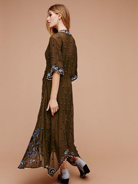 Bohemian Embroidery Batwing Sleeve Beach Dress S to XL