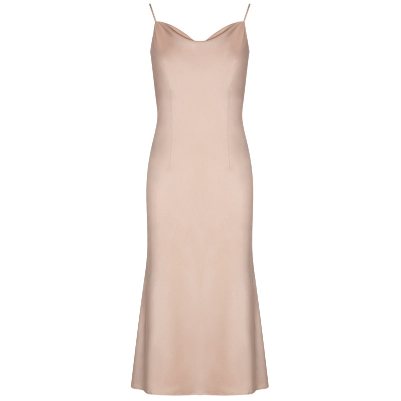 Champagne Sleeveless A-line Spaghetti Strap Mid-calf Dress S to XL
