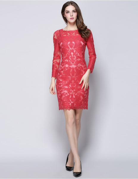 Long Sleeve Flower Embroidery Bodycon Dress L to XXXL