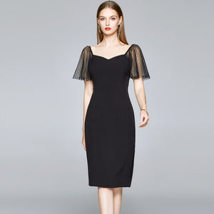 Black Butterfly Sleeve V-Neck Office Midi Dress S to XXL